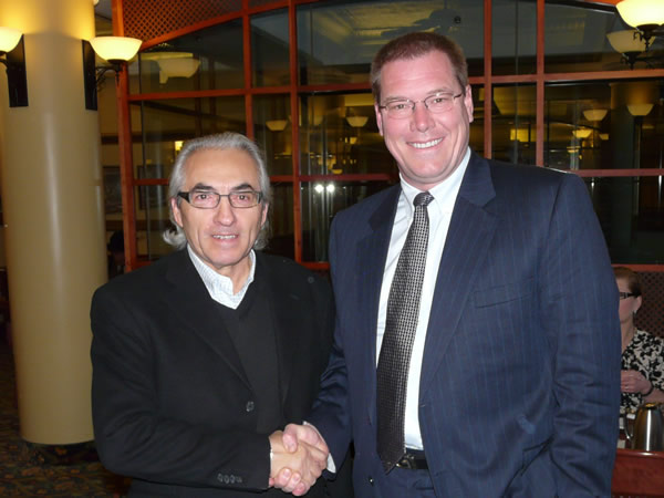 Phil Fontaine, National Chief of the Assembly of First Nations and Mike Parkhill, Founder of SayITFirst, at the Council of Education Ministers, Canada - Summit on Aboriginal Education, Saskatoon, February 2009.